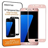 Boosted Samsung Galaxy S7 Full Screen Tempered Glass Screen Protector, Now with IMPROVED Screen Hardness, Adhesive, Touch Sensitivity and Anti Fingerprint Oleophobic Coating - Rose Gold