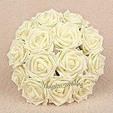 10pcs 8cm Bridal Artificial Foam Roses Wedding Flower Bouquet Decorations Posy Color:Ivory