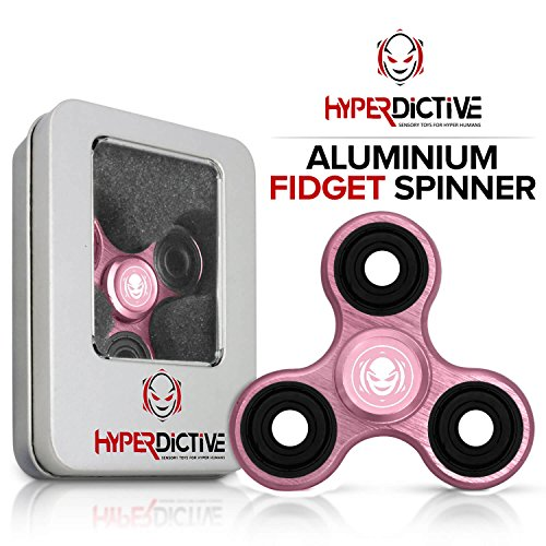 Price comparison product image Hyperdictive Metal Aluminium Anxiety Fidget Hand Spinner- Best and Coolest Fidget Tri Spinners Toy For Kids & Adults- Best for Tricks- Perfect Sensory ADHD Stress Relief Toy- Amazing Gift- Pink