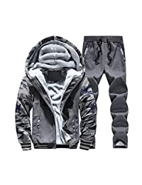LOVEBEAUTY Men's Cotton Winter Fur Lined Hoodies Coat Thick Warm Jacket Pants Set