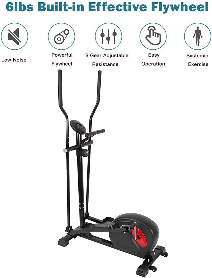 JKRED Magnetic Elliptical Machine Cardio Trainer Smooth Quiet Driven with LCD Monitor for Home Gym Exercise