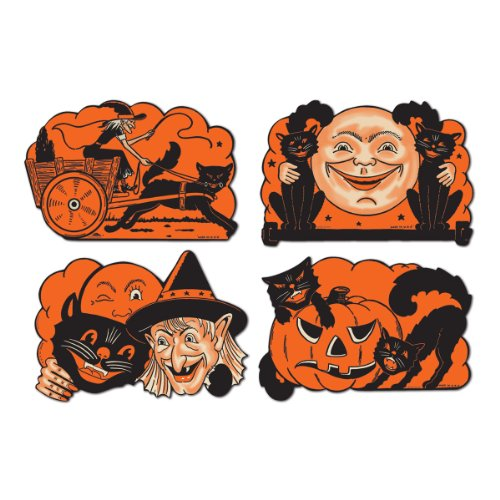 Beistle 4-Pack Halloween Cutouts, 9-Inch (Halloween Cat Decorations)