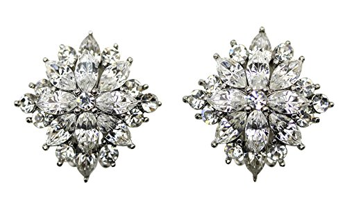 Faship Gorgeous Floral Clip On Earrings (Rhinestone Floral Clip Earrings)