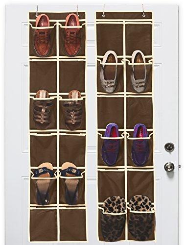 24 Pockets - SimpleHouseware 2-Pack 12 Six-Inch LARGE Mesh Pocket Over Door Hanging Shoe Organizer, Brown (58'' x 12.5'')