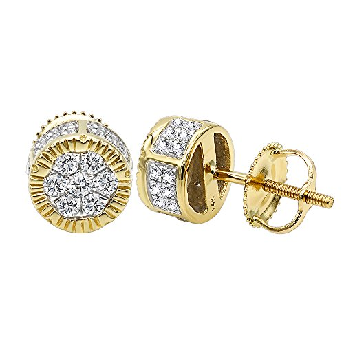 2 Carat look 14K Rose, White or Yellow Solid Gold Cluster Diamond Stud Earrings 0.5ctw (Yellow Gold)