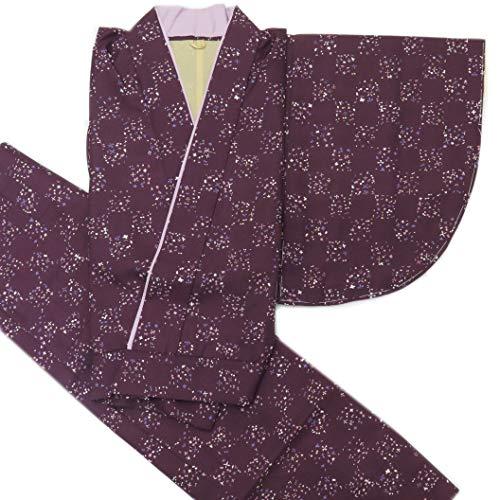 二部式着物 洗える着物 袷 単品 小紋柄の着物 Mサイズ「濃紫」HANM1810