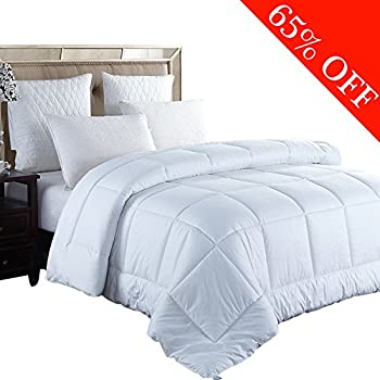 Shilucheng Goose Down Alternative Comforter,Quilted Comforter with Corner Tabs,Hypoallergenic, Plush Siliconized Fiberfill (Queen, White)
