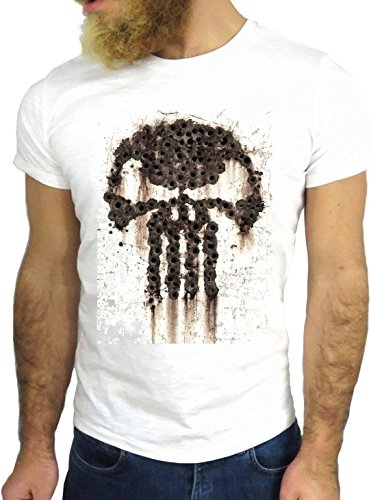 T SHIRT JODE Z1337 SKULL SKELETON DEATH ROCK FUNNY COOL FASHION NICE GGG24 BIANCA - WHITE S