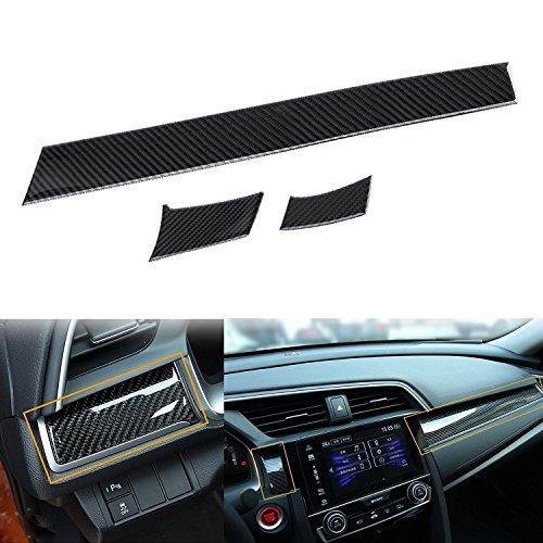 3 pcs Car Interior Trim Real Carbon Fiber 3D Center Console Panel Dashboard Cover Sticker Trim For 2016 2017 2018 Honda Civic 10th (Real Carbon Fiber Dash Trim)