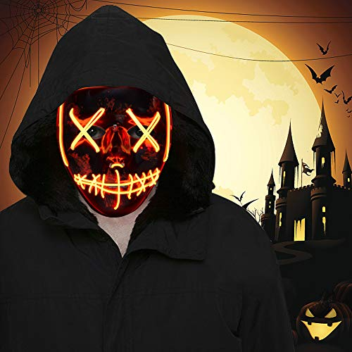 Halloween Mask Ideas (FLY2SKY Halloween Mask Light Up Toys 1PCS Red LED Light Up Mask LED Mask Glowing Mask Frightening Luminous Halloween Cosplay LED Purge Mask for Festival Entertainment Halloween Party Favors for)