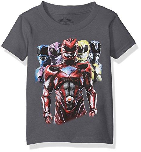 Power Rangers Little Boys' Short Sleeve T-Shirt, Charcoal, S-4 (Rangers Charcoal)