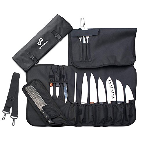 EVERPRIDE Chef Knife Roll (14 Slots) | Knife Carrier Holds 10 Knives, 1 Meat Cleaver And 3 Utensil Pockets. Easily Carried by Shoulder Strap For Professional Sous Chefs, Cooks, Culinary Aficionados (Knife Roll Up)