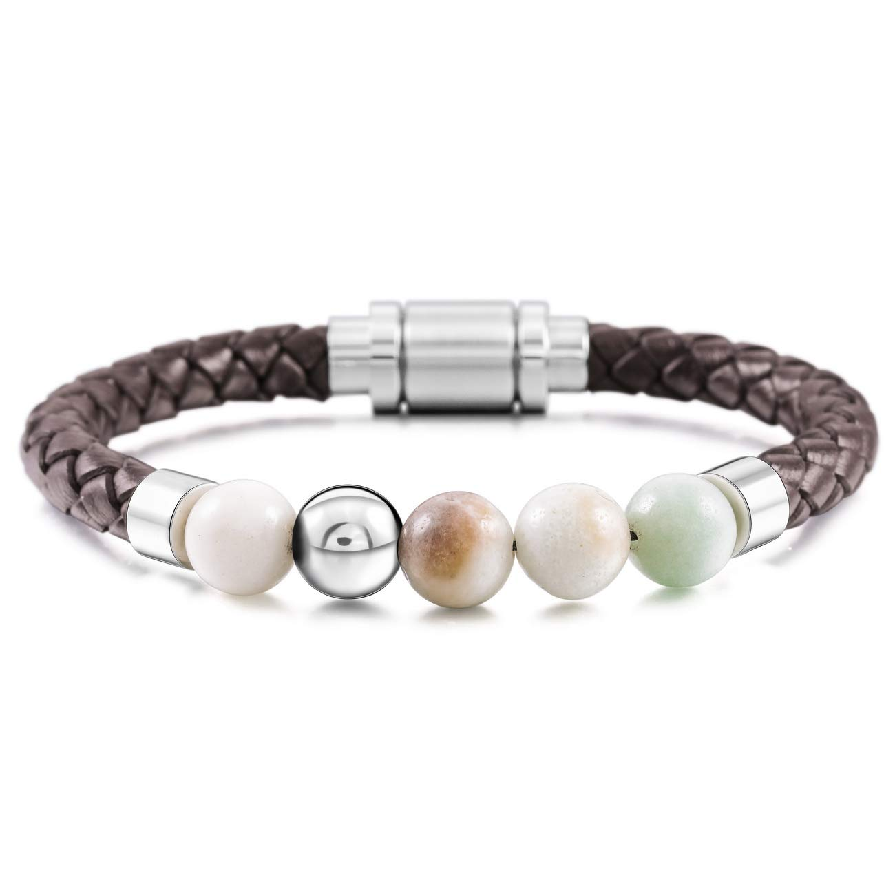 MOWOM Silver Tone Brown Stainless Steel Genuine Leather Energy Bracelet Simulated Stone Bead Magnetic Clasp ca5020368