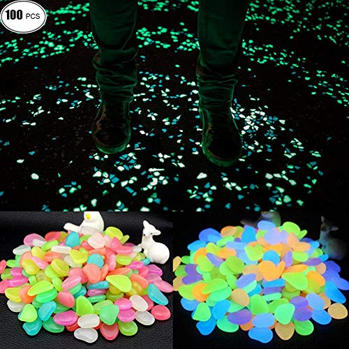 Cheap WUZJ 100pcs Colorful Glowing Garden Pebbles Decorative Luminous Stone Glow in the Dark for Walkways Decor Plants Pot Fish Tank Aquarium etc
