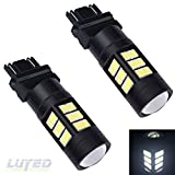 LUYED 2 X 1500 Lumens Extremely Bright 3157 4014 72-EX Chipsets 3056 3156 3057 3157 LED Bulbs,Black Metal Aluminum Dissipate Heat With Adjustable Lens,Xenon White