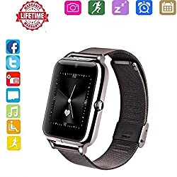 Smart Watch Android,hongtu Bluetooth Smart Watch Touchscreen With Camera Pedometer Sim Tf Card Slot For Lg Xiaomi Huawei Samsung Ios For Mens Women (Black')