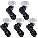 Yescom Set of 5 Warm White LED Deck Lights Outdoor Garden Malls Stair Landscape Lamps Low Voltage Waterproof