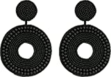 Kenneth Jay Lane Women's Black Seed Bead Circle Drop Direct Post Earrings Black One Size