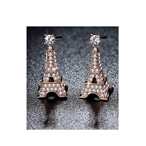 Rose Gold Paris Eiffel Tower Earrings Studs
