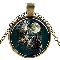 Wisdom Howling Wolf Necklace Pendant Charm Time Gemstone Jewelry
