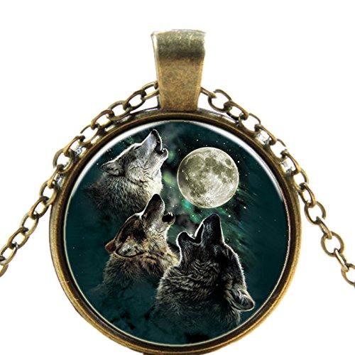 Wisdom Howling Wolf Necklace Pendant Charm Time Gemstone Jewelry -