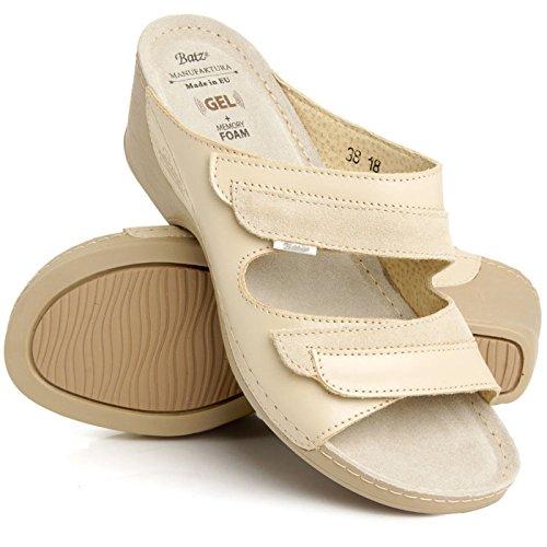 pour pour mariann haute de beige cuir Batz en Sandales mélange enfiler qualité femmes dames à qPdxFgYU