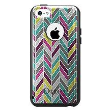 CUSTOM Black OtterBox Commuter Series Case for Apple iPhone 5C - Pink Purple Teal Herringbone