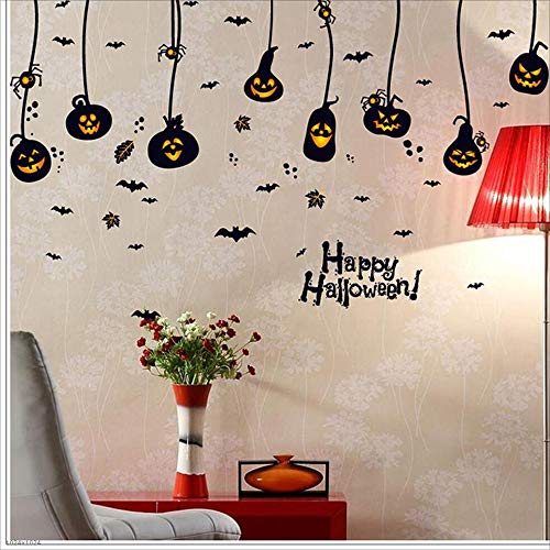 MODYY Halloween Decorations Mall Shop Holiday Window Glass Ornament Wallpaper Stickers Paper Door Stickers Creative Halloween Pumpkin Wall Stickers