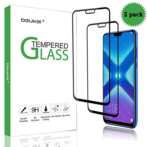[2-Pack] Beukei for Huawei Honor 8X [Tempered Glass] Screen Protector [ Glass with 9H Hardness] with Lifetime Replacement Warranty