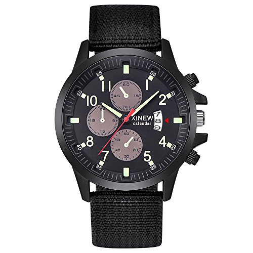 Military Watch,Men Analog Watches Army Filed Tactical Sport Wrist Watches Canvas Strap Calendar Date (Black -3)