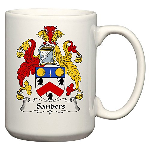 Sanders Coat of Arms / Sanders Family Crest 15 Oz Ceramic Coffee / Cocoa Mug by Carpe Diem Designs, Made in the U.S.A.