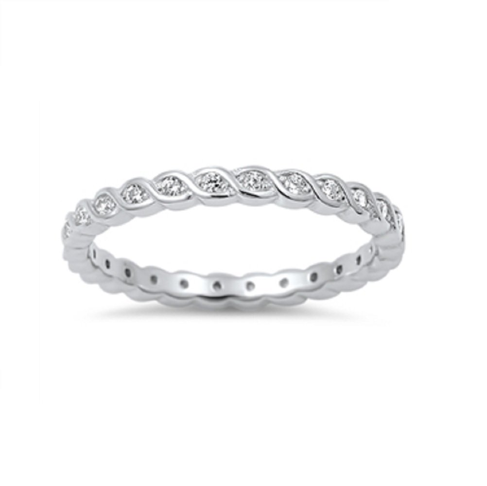 CloseoutWarehouse Cubic Zirconia Swirl Stackable Eternity Ring Sterling Silver Size 10