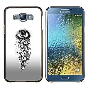 Chica de ojos Depresión Heartbreak Sad- Metal de aluminio y de plástico duro Caja del teléfono - Negro - Samsung Galaxy E7 / SM-E700