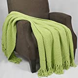 Home Soft Things Boon Knitted Tweed Throw Couch Cover Blanket, 50 x 60, Citron
