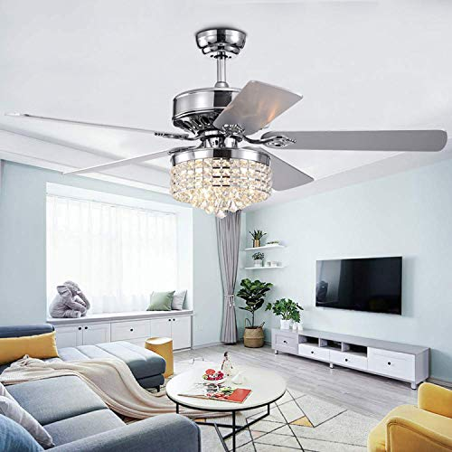 Crystal Ceiling Fan Chandelier With Light and Remote Control Chromn 52 Inch 5 Wood Reversible Blades For Modern Home Decoration Living Room