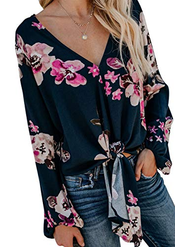- CICIDES Womens Floral Blouses Print Tie Front V Neck Long Batwing Sleeve Plus Size Boho Casual Fashion 2019 Plain Autumn Loose Fit Tops and Henley Shirts Rose US16-18 X-Large