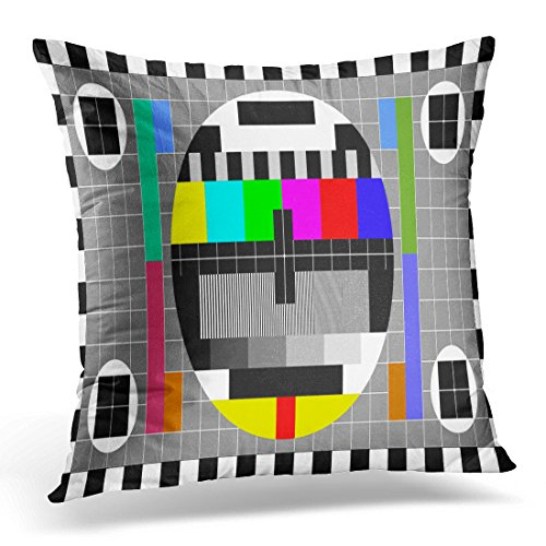 TOMKEYS Throw Pillow Cover Tv Test with Rainbow Multi Color Bars and Geometric Signals Technological Retro Hardware From the 1980S Decorative Pillow Case Home Decor Square 20x20 Inches Pillowcase -