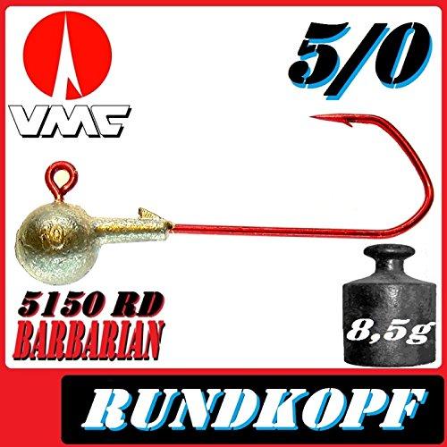 VMC Jigkopfhaken Jigkopf Rund 5//0 8,5g Jighaken 10 St/ück im Set f/ür Gummifische