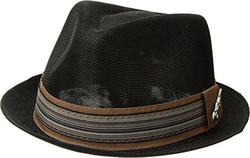 Carlos by Carlos Santana Mens Polyester Sinamay Pinch Front Fedora Black MD One - Fedora Pinch Front