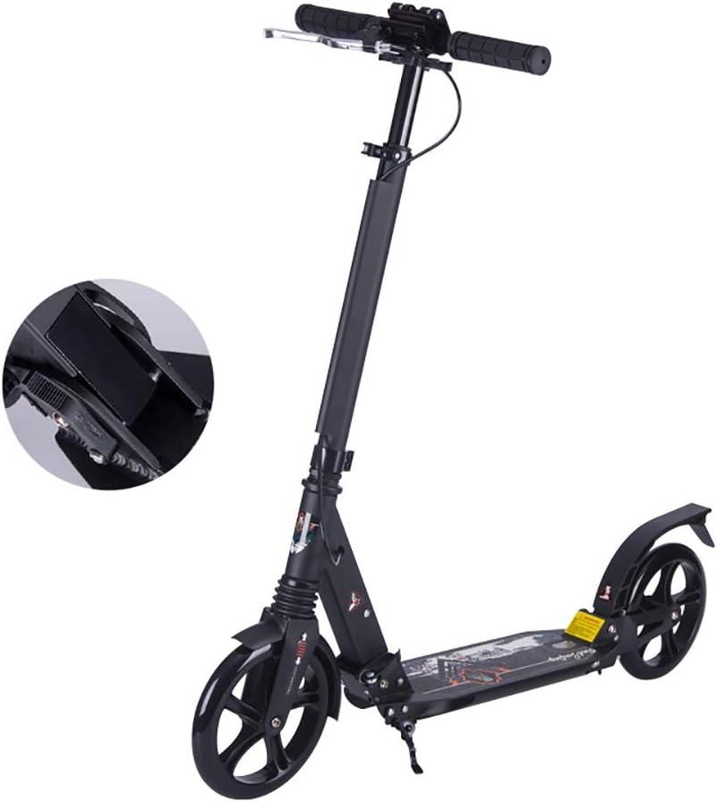 大人用 キックボード 大人/ティーン/男の子/女の子のための黒のアーバンキックスクーター、2つの大きな車輪付きの調節可能な高さの通勤用スクーター、最大100kg、非電気