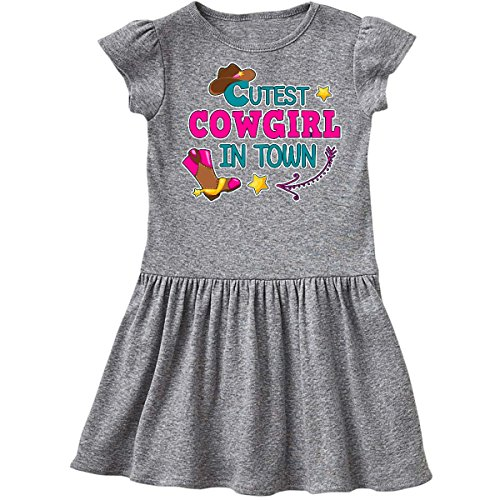 inktastic - Cutest Cowgirl in Town with Toddler Dress 3T Heather Grey 2ffe6 ()