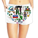 Travel to Haiti Women Fashion Sexy Quick Dry Lightweight Hot Pants Waist Beach Shorts Swimming Trunks