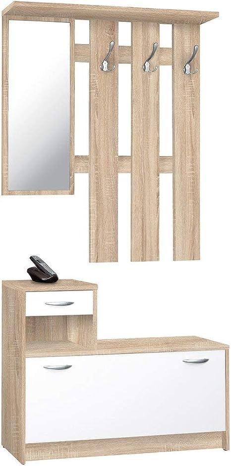 Rudolf dimensioni LAP ca 100x180x25 cm Guardaroba da ingresso in imitazione nero // bianco Avanti Trendstore