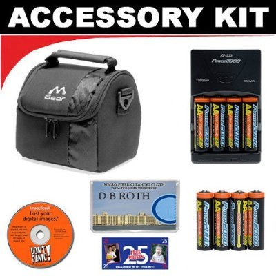 (Deluxe Accessory Kit with Charger & 8 AA Rechargeable Batteries + Digital Camera Case For The Olympus C-4000, C-4040, C-3040, C-3030, C-3020, C-2020, C-2040, C-720, C-700, C-300, E-100 RS Digital Cameras)