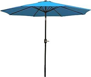Sunnydaze 9 Foot Outdoor Patio Umbrella - Push-Button Tilt & Crank Patio Table Umbrella - Aluminum Pole & Polyester Shade Canopy - Turquoise