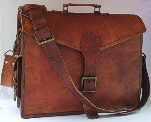 VINTAGE COUTURE 16 Inch Leather Shoulder Messenger Briefcase Bags For Men by VINTAGE COUTURE
