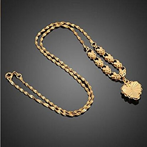 Necklace doopootoo 18K Rose Gold Filled Filigree Heart Pendant Necklace Chain Fashion Women Jewelry