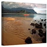 Art Wall Hanalei Bay at Dawn Gallery Wrapped Canvas by Kathy Yates, 32 by 48-Inch