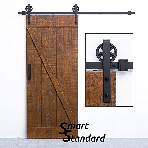 SMARTSTANDARD 6.6 FT Sliding Barn Door Hardware (Black)(Big Industrial Wheel Hanger)(1 x 6.6 Foot - Hours Best Square Union Buy
