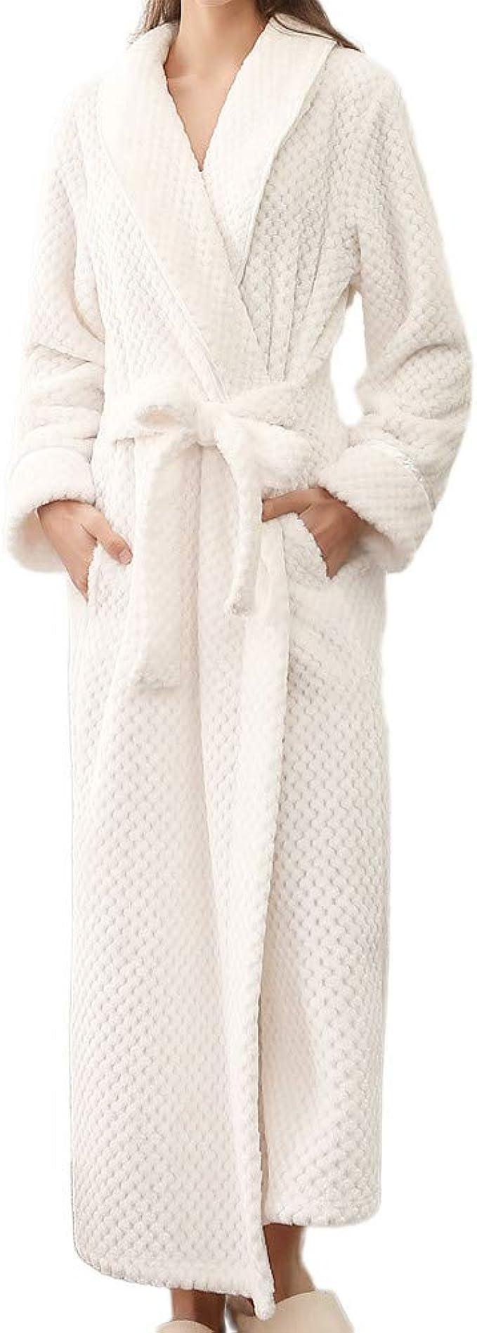 Peignoir De Bain Pour Femme Hiver Long Chaud 100 Coton En Satin éponge Grand Taille Polaire Robe De Chambre Amazon Fr Vêtements Et Accessoires